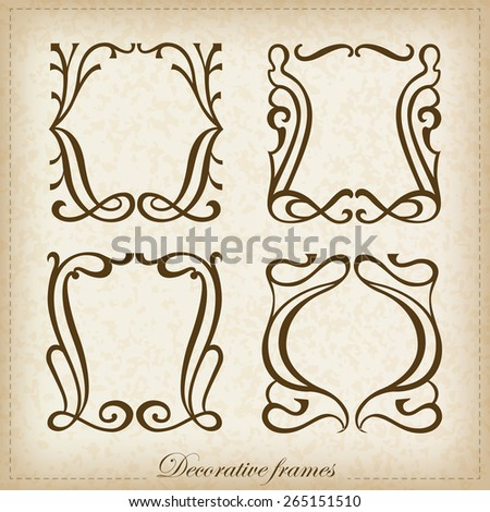 Vector set of calligraphic Vintage frame - stock vector