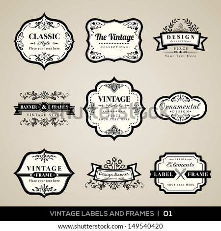 Vector set of calligraphic Vintage labels and frames design elements - stock vector