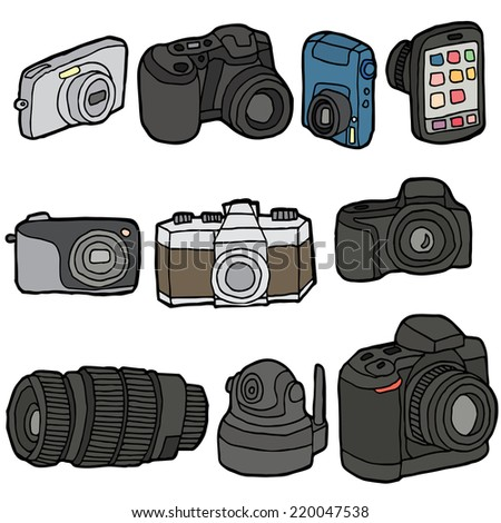 vector set of camera - stock vector