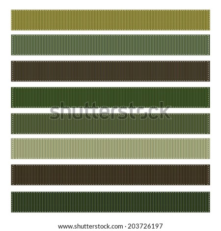 Vector Set of Camouflage Grosgrain Ribbons