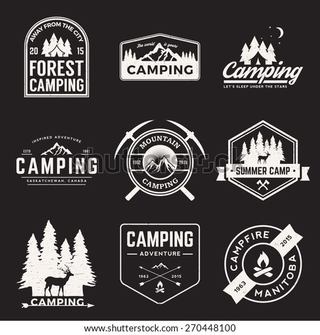 vector set of camping and outdoor adventure vintage logos, emblems, silhouettes and design elements with grunge textures - stock vector