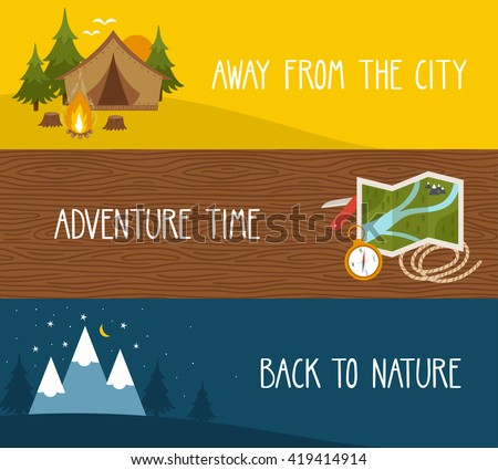 Vector set of camping banners with landscapes, tourist equipment. Bright travel backgrounds. - stock vector