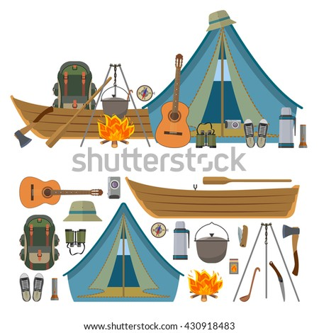 Vector Set Of Camping Objects And Tools Isolated On White Background Camp Equipment Icons