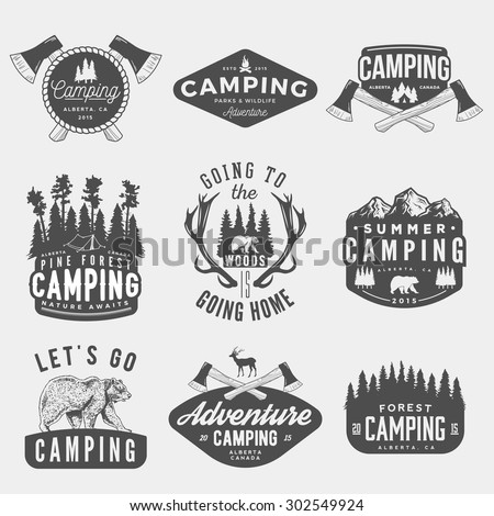 vector set of camping vintage logos, emblems, silhouettes and design elements. logotype templates and badges with mountains, forest, trees, tent, axes, bear, deer. outdoor activity symbols - stock vector