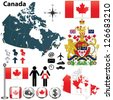 Vector set of Canada country shape with region borders, flags and arms on white background. - stock photo