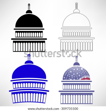 Vector Set of Capitol Icons Isolated on White Background - stock vector