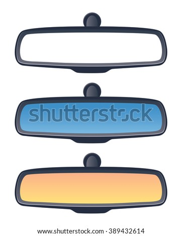 vector set of car rear view mirrors - stock vector