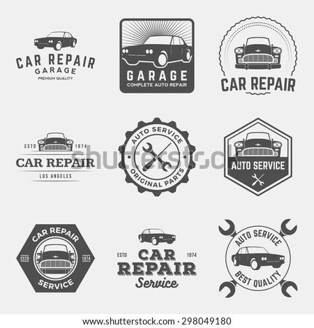 vector set of car repair service labels, badges and design elements - stock vector