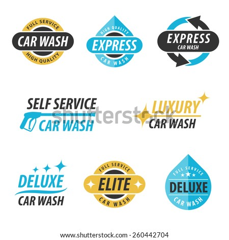 Vector set of car wash logotypes: for express, full service, self service, luxury, elite and deluxe car wash. Eps 10. - stock vector