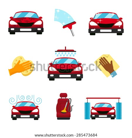 Vector set of car washing flat icons. Service wash, vacuum chair, wet  and dry process, automatic cleaning - stock vector