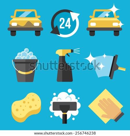 Vector set of car washing tools - stock vector