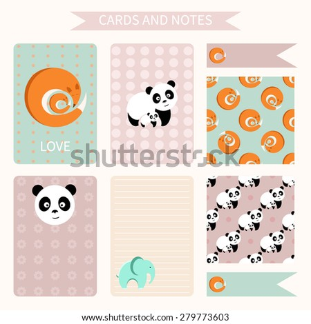 vector set of cards, notes. template for notebooks, diary. fox, panda, elephant