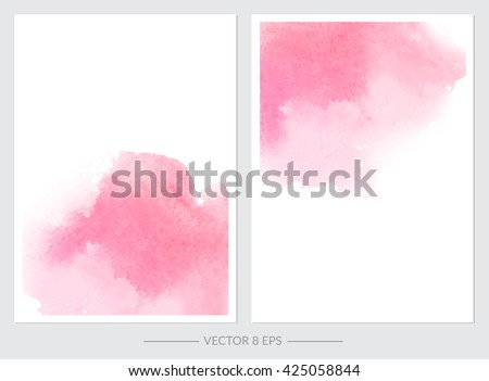 Vector. Set of cards with watercolor blots. Set of cards with hand drawn blots on white background for your design. Save the Date, postcard, banner, logo.