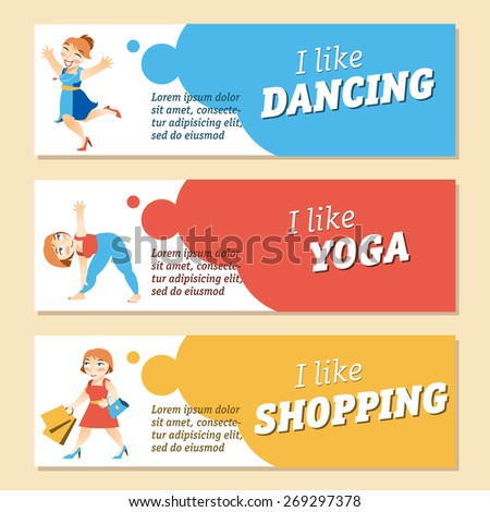 Vector set of cards with women's hobby. Lifestyle and activities. Style layout for your own design of invitation or announcement or any other one.  - stock vector