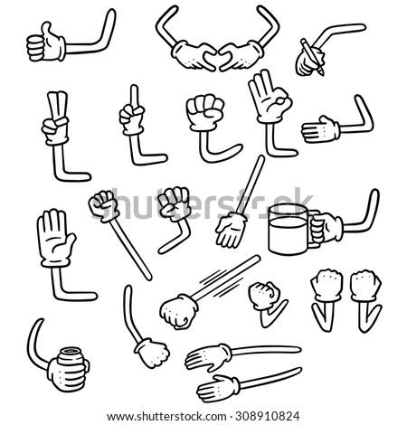 vector set of cartoon arm - stock vector