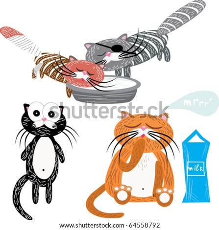 vector set of cartoon cats - stock vector