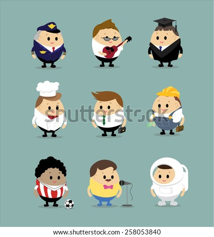 Vector set of Cartoon characters with different professions(Police officer, guitarist, bachelor, chef, businessman, worker, engineer, scientist, builder, astronaut,singer,Football player  ) - stock vector