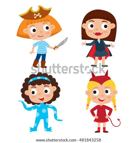Vector set of cartoon children in colorful halloween costumes: pirate, devil, alien, vampire. Cartoon character design of girls isolated on white used for child books, stickers, posters, web pages.