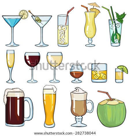 Vector Set of Cartoon Cocktails and Alcohol Drinks. Martini, Lemonade, Pinot Colada, Mojito, Champagne, Red Wine, White Wine, Cognac, Brandy, Whiskey, Tequila,  Beer, Irish Coffee, Coconut. - stock vector