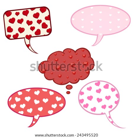 Vector Set of Cartoon Comics Bubbles with Heart Pattern.