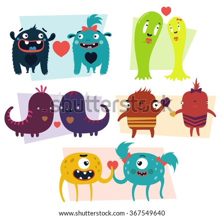 Vector set of cartoon cute character Monsters. Monster emotions of falling in love / Halloween monster set	/ valentine day love beautiful - stock vector
