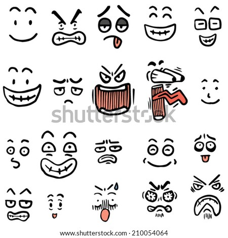 vector set of cartoon face - stock vector