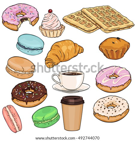 Vector Set of Cartoon Food Items. Coffee, Drinks and Desserts