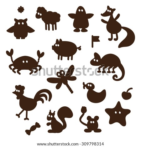 Vector Set of cartoon funny animals silhouettes - stock vector