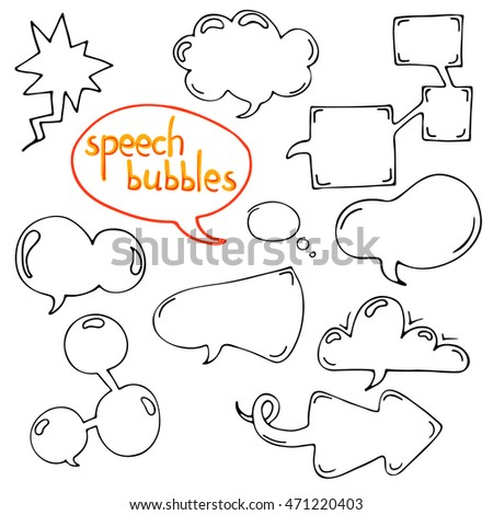 Vector set of cartoon hand drawn speech and thought communication bubbles. Isolated. outline. doodle.