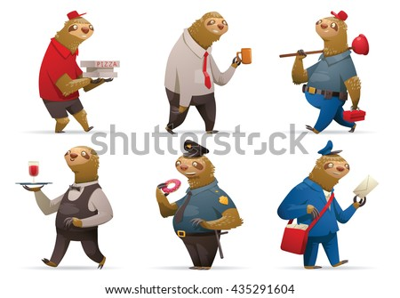 Vector set of cartoon images of cute sloths in different occupations: a pizza deliveryman, office worker, plumber, waiter, policeman and postman on a white background. Parody. Vector illustration.