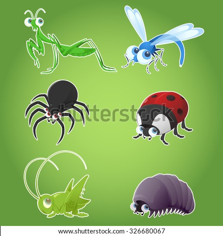 Vector set of cartoon insects - ladybug, dragonfly, spider and others