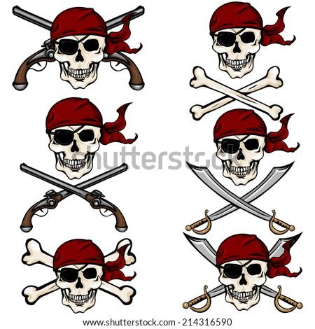 Vector Set of Cartoon Pirate Skulls in Red Bandana - stock vector