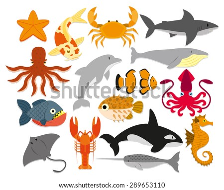 Vector Set Of Cartoon Sea Animals Isolated - stock vector