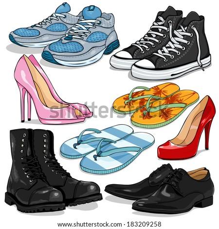 Vector Set of Cartoon Shoes - stock vector