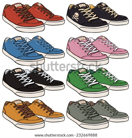 Vector Set of Cartoon Skaters Shoes - stock vector