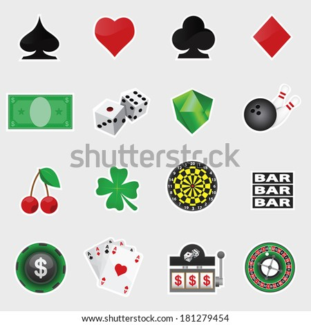 vector set of casino icons - stock vector