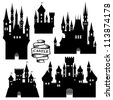 Vector set of castle silhouette - stock photo