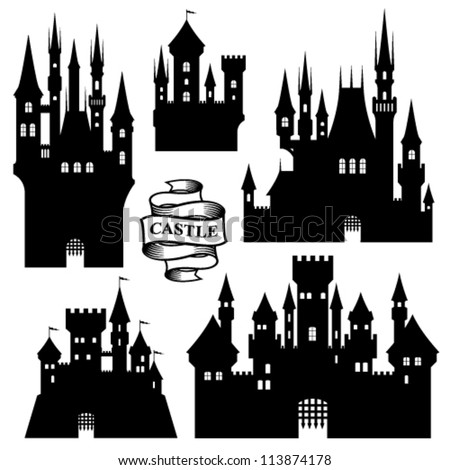 Vector set of castle silhouette - stock vector