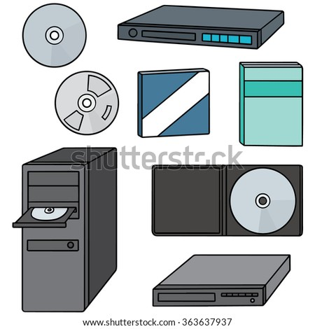 vector set of cd, dvd, blu-ray player