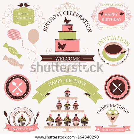 Vector set of celebration or holiday icons in vintage colors. Birthday icons collection. - stock vector