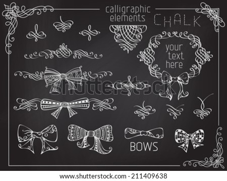 Vector set of chalk design elements. Vintage calligraphic frames, page decorations and dividers on chalkboard background. - stock vector
