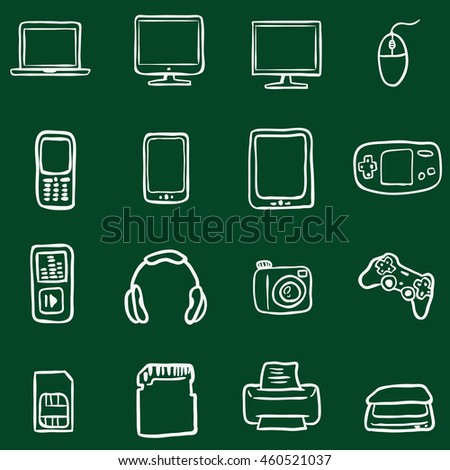 Vector Set of Chalk Doodle Computer Devices Icons