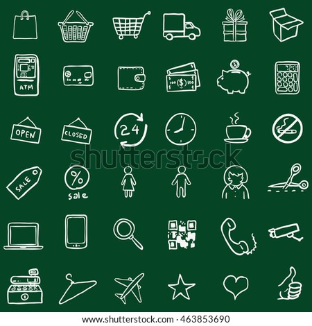 Vector Set Of Chalk Doodle Shopping Icons