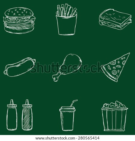 Vector Set of Chalk Fast Food Icons. Fast Food. Junk Food. Hamburger, French Fries, Sandwich, Hot Dog, Chicken, Sauces, Beverage, Popcorn. - stock vector