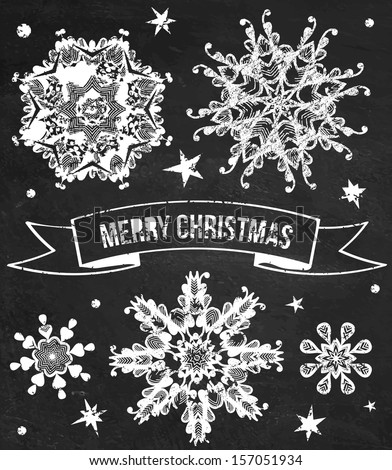 Vector set of chalk grunge snowflakes. Holiday greeting card. Textured chalkboard background. - stock vector