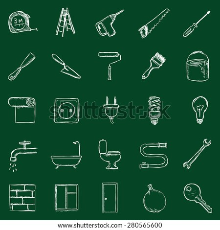 Vector Set of Chalk Home Repairing,  Building, Construction and Decoration Icons - stock vector