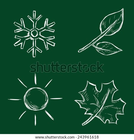 Vector Set of Chalk Season Icons - stock vector