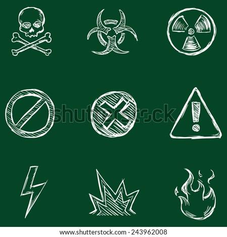 Vector Set of Chalk Warning  Icons - stock vector