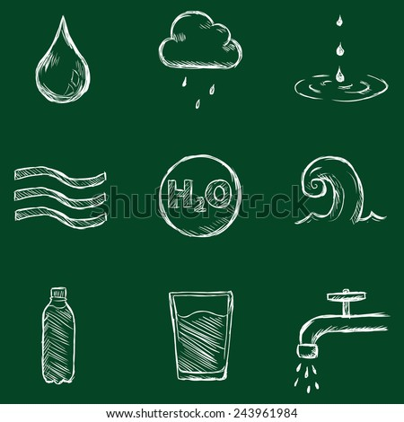 Vector Set of Chalk Water Icons - stock vector