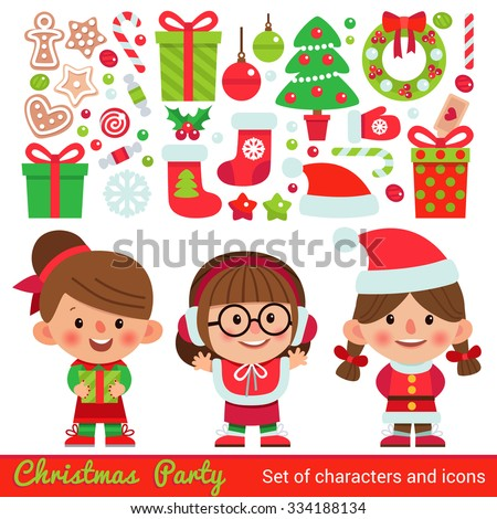 Vector set of characters and icons for Christmas in cartoon style. Gifts and sweets, gingerbread, snowflakes and other traditional elements of Christmas. Children in costumes for Christmas. - stock vector